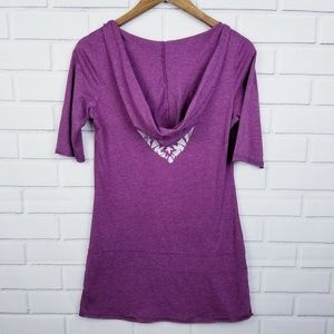 Maurices Tops - Maurices Purple Short Sleeve Hooded V-Neck Top